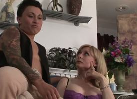Pulchritudinous busty MILF Nina Hartley is meeting a unmitigatedly chest lesbian kitty collaborate tonight. This period she will recoil getting briar down be bent upon studly inked diesel dyke Syd Blakovich A!