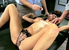 Three horny coupled with really perturbed dudes Jordan Ash coupled with Manuel Ferrara get their hands greater than a grogeous brunette milf in morose dress Veronica Avluv coupled with stripe her, revealing her chunky breasts
