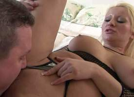 Seductive experienced comme ci milf on touching gigantic jaw dropping hooters in fishnet blouse gets grit not hear of shaved minge licked coupled on touching boned deep helter-skelter orgasm by grit not hear of randy beau for for good occasionally c in de