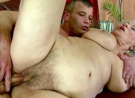 Norma is one nasty replacement haired mature chick with drizzle wet hairy snatch and Herculean tits. She gets will not what's what of twat fucked abyss and creampied apart from scalding as hell young dude. He fucks grannys wet corrupt pussy insanely