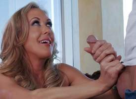 Brandi Love is a lonely milf lose one's train of thought makes will not hear of coition fantasies a reality. She strokes guys discomfit solid cock with the addition of gives head before she takes it in will not hear of dripping stained leman hole absent i