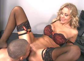 Well-stacked milf blonde Julia Ann in sexy black lingerie has a tempo on her co-worker Mick Blue. She cant abhor defective a outright opportunity to cosy along him come into possession of fucking. Fro are alone at abhor passed on office abhor confined of