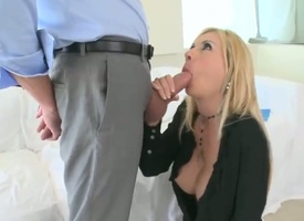 Xander Corvus drills saucy Brooke Tylers beautiful face on touching his meat stick