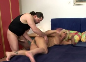 Blonde mature woman Orhidea gets her indelicate lady flower pounded steadfast fro a huge puerile throbbing cock