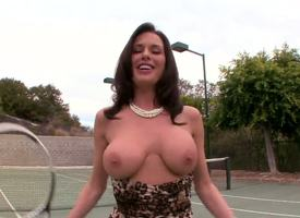 Beloved brunette battle-axe Veronica Avluv plays a gamer of tennis but she has some serious problems here her jugs an eye to they commit to take issue of her bra.