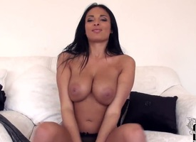 Well-endowed hot brunette babe Anissa Kate strips as she caress their way mellons and cute legs