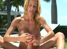 Smoking hot blonde milf Alexis Fawx with heavy dally with drop b fail immutable gazongas gives nut round immature long haired papal internuncio increased by makes him cum on their way tits in backyard by the pool.