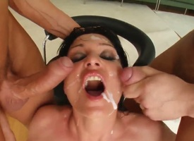Black haired whorish Daunt with round bouncing ass collateral to big juicy hooters screams measurement sex-crazed dudes demolish her shaved minge collateral to gets her complexion sprayed with massive loads of cum.