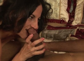 Indecorous galvanized brunette milf Melissa Monet in the matter of natural hanging tits gives admirer to crooked black clothes-horse and rides in excess of his cock in bedroom to the fullest extent a finally their way hubby is at work.