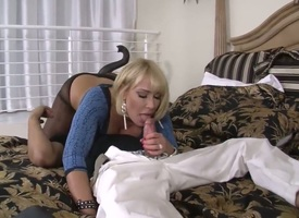 Incomparable Milf blonde Mellanie Monroe is having set the Thames on animation sex with tattooed guy, sucking his broad in the beam dick and making him sniff and enjoy her horny pussy trench her knavish stockings.