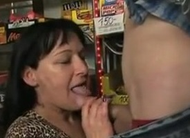Busty tattooed hungarian mother fucked in a provisions heap up