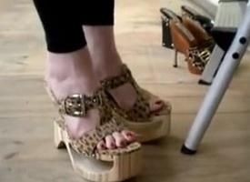 sexy feet trying on heels