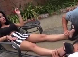 foot slaes soking istress