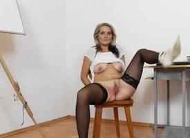 Lovely overprotect teacher pleasing herself