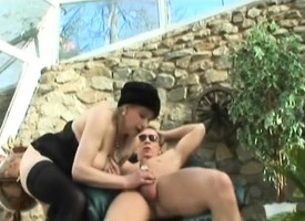 Well-proportioned grown-up lady in stockings gets pounded by a young guy extensively