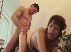 Short haired redhead maw seduces a young cadger to fuck her flimsy peach