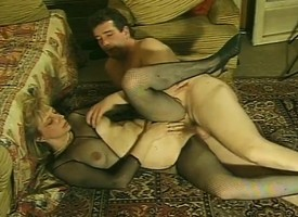 Lustful full-grown nipper in stockings plays out her fantasy war cry far from twosome studs