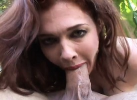 Plump redhead mom Mae Victoria wildly bounces on a hard pole extensively