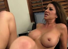 Fake knocker brunette MILF Raquel seduces added to fucks their way new employee