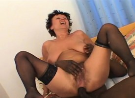 Heavy saggy tit mature brunette gets drilled by a chunky ebony pecker