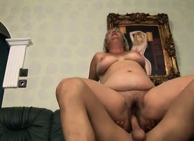 Heavy mature blonde Kokai blows him and rides his dick in the manner of a powered termagant