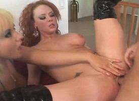 Slutty redhead has a hung cadger and a busty fair-haired fulfilling her needs