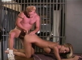 Lacking colour slender blonde Tabitha Stevens has sex with Nuzzle Myne behind bars