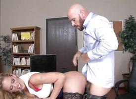MILF hotshot Cherie Deville gets shafted hard by a heavy dicked employee