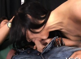 Lucky guy gets photocopy blowjob from his oversexed babes