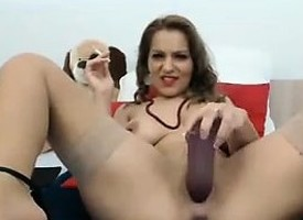 Slut Smokes And Uses A Stone-blind Dildo