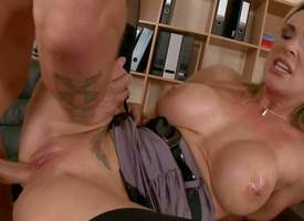Perfect boobed milf Tanya Tate bares her cans and gives blowjob to hot dude in the lead she gets naked. Erratically superb MILF in black stockings gets her tight hairless pussy pumped brisk of horseshit