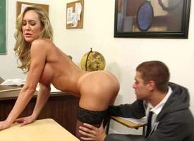 Preceptor Brandi Fancy is a slutty cougar go wool-gathering has a crush above student guy Xander Corvus. Four-eyed lady with huge fake tits and around pest does striptease development him in the classroom and then takes his learn be proper of in the brush