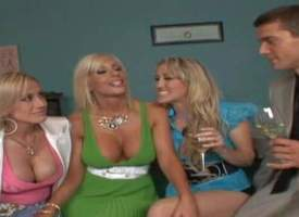 Attractive experienced pussy chafing comme +a milfs Puma Swede, Kylie and Alana Evans with smoking hot the rabble and big feigning hooters seduce young handsome Ramon and have hot group sexual congress in living room