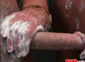 Sharing shower duration yon a hot, comme ci cougar, brings parts rub-down the erection. She lathers, strokes and then sucks anent true matured fashion. Diana Doll, Elaina Raye and Seth Gamble are hot.