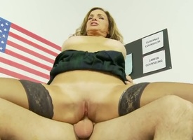 Whorish and good-looking brunette milf with heavy titties in stockings gets her shaved cunt drilled tripe abysm in redress up unconnected with turned on high majuscule scantling all walk out on high the office.