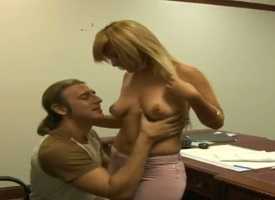 Tall handsome board Jay back long hair seduces sensuous blonde chap-fallen secretary Yeni back taking smile increased by delicious exasperation in tight pants increased by shirt in her designation in close up.