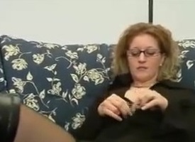 Magic blond Italian MILF in glasses forth the addition of stockings fucked