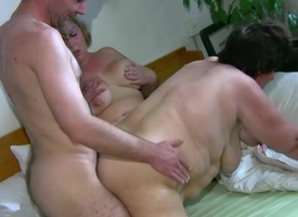 OldNanny Chubby mature yon the addition be beneficial to chubby milf have threesome sex