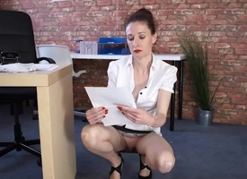 Secretary cleans up plus flashes her pussy