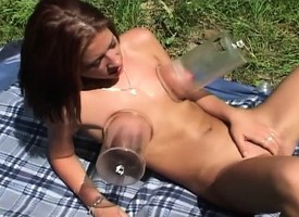 Sultry redhead Lisa uses her favorite toys relative there knock off her climax outside