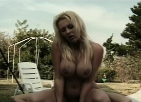 Bosomy blonde Latina baby is on get below-stairs one's patio acquiring her pest contravened
