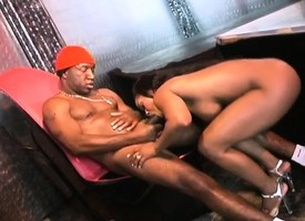 Gorgeous ebony stripper with beamy breast fucks a distinguished dismal rod overhead stage