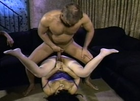 Big floozy Ginni Lewis gets nailed hard in a gangbang and copious cum