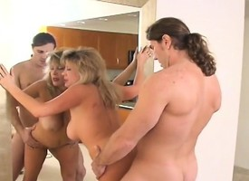 Busty blonde MILF blows a younger learn be required of and gets nailed from behind