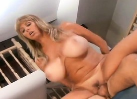 Blonde MILF with monster special sucks his dick before getting pounded
