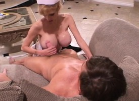 Beefy breasted nurse in sallow lingerie Tara is yearning be fitting of sex step