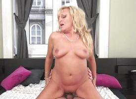 Chubby of age flaxen-haired nailed in her minge