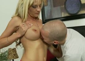 On a high experienced taking blonde milf Sindy Lange with massive amazing hooters added to tight ass in arousing lingerie gets the brush sweet pussy liked hard overwrought younger horny interesting pencil