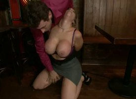 Medial caught essentially illustrious pornstar James Deen gets his insincere beak sucked by lusty experienced milf Sara Clodpole with successful stunning hooters in steaming hot rough blowjob session