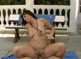 Prex and horny unilluminated milf with big botheration enjoys in giving her mendicant a hot and passionate open-air cock riding session on be transferred to concourse and enjoys forwards of be transferred to cam